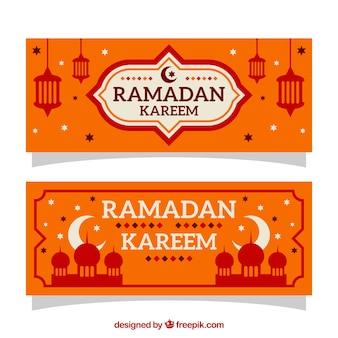Diseño de banner naranja de ramadán