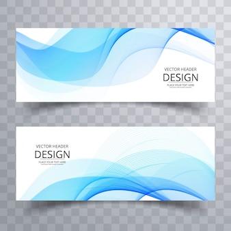 Diseño de banners con formas onduladas azules