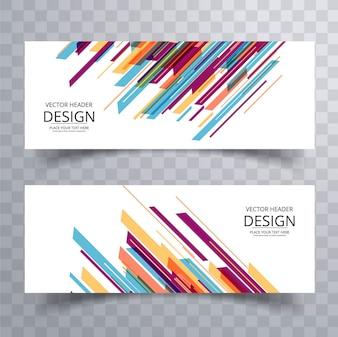 Diseño de banners con rayas coloridas