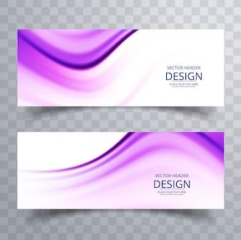 Diseño de banners morados ondulados