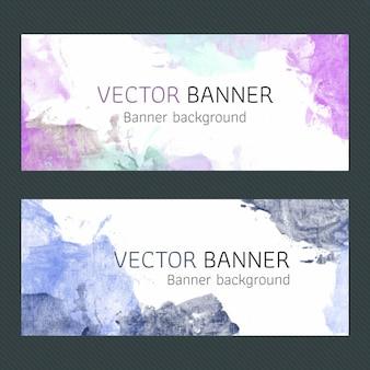 Diseño de banners púrpura de acuarela