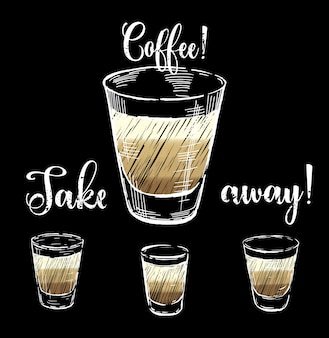 Diseño de café con conjunto de vasos