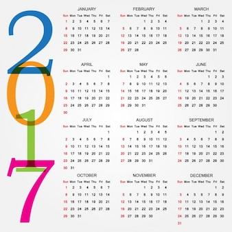 Diseño de calendario de 2017