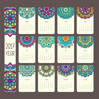 Diseño de calendario de mandalas