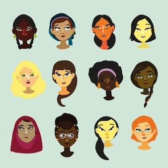 Diseño de caras multiculturales de mujeres