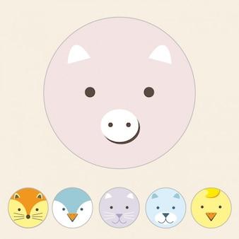 Diseño de cerdo a color