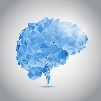 Diseño de cerebro low poly con puntos conectados