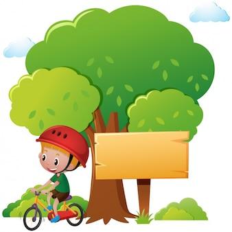 Diseño de chico con una bicicleta