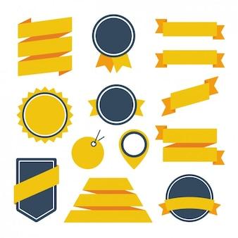 Diseño de cintas e insignias amarillos