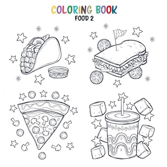 Diseño de comida rápida para colorear
