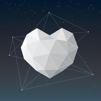 Diseño de corazón poligonal