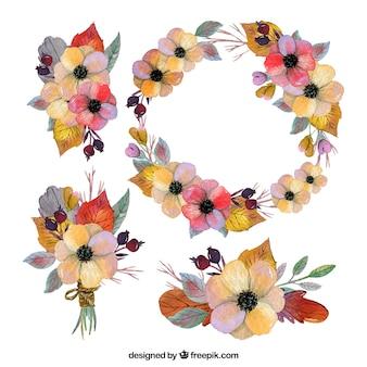Diseño de corona de flores colorida