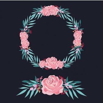 Diseño de corona y ornamento de rosas rosas