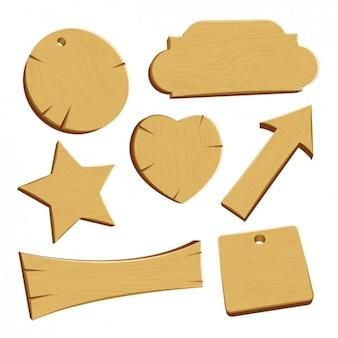 Diseño de diferentes etiquetas de madera