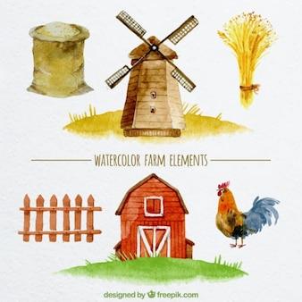 Diseño de elementos de granja en acuarela