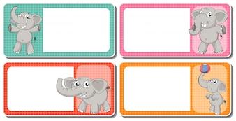 Diseño de etiquetas con elefantes grises