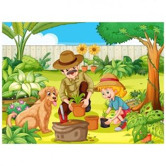 Diseño de familia en el jardín