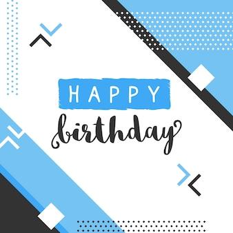 Diseño de feliz cumpleaños en estilo memphis
