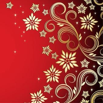 Diseño de flores de bronce sobre fondo rojo