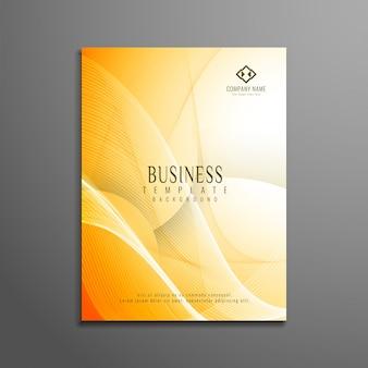 Diseño de folleto de negocios abstracto ondulado luminoso