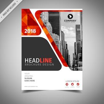Diseño de folleto de negocios naranja y rojo