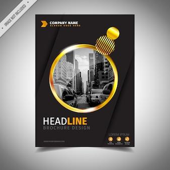 Diseño de folleto de negocios negro y dorado