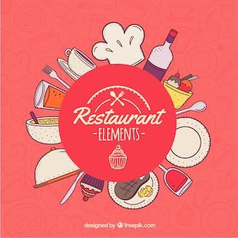 Diseño de fondo de elementos de restaurante