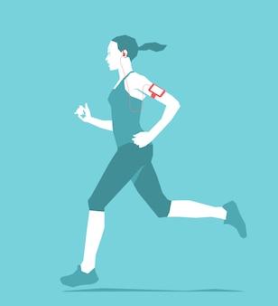 Diseño de fondo de mujer corriendo