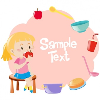 Diseño de fondo de niña comiendo