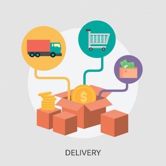 Diseño de fondo de paquetes de entrega