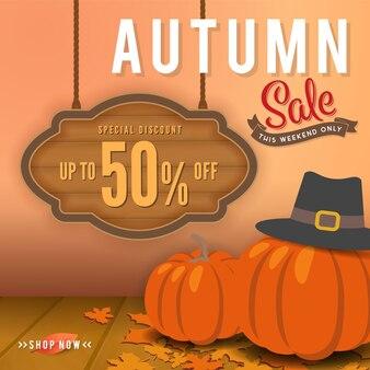 Diseño de fondo de sbanner venta de otoño