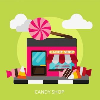 Diseño de fondo de tienda de caramelos