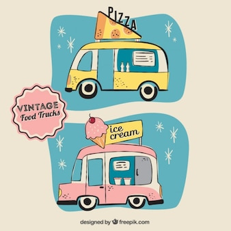 Diseño de food trucks vintage