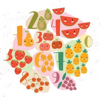 Diseño de frutas y números