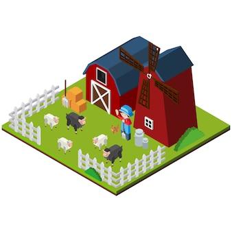 Diseño de granja isométrica