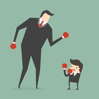 Diseño de hombres de negocios boxeando
