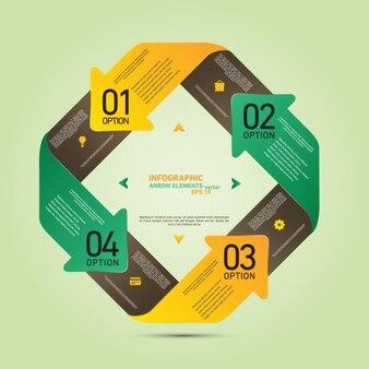 Diseño de infografía con flechas