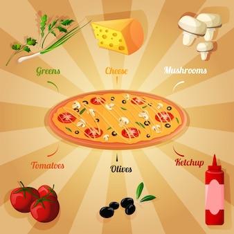 Diseño de ingradientes de pizza