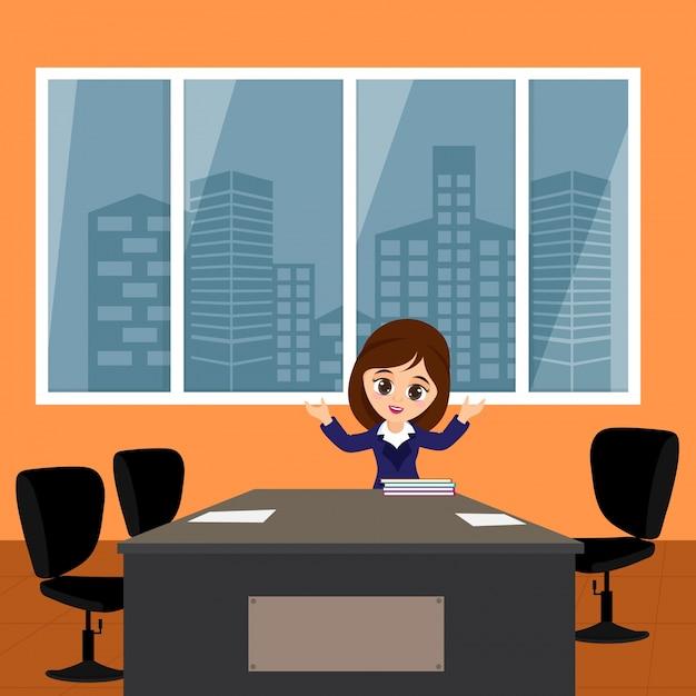 diseo de interiores de oficina de estilo plano con mujer de negocios
