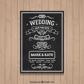 Diseño de invitación de boda en pizarra