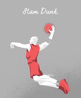 Diseño de jugador de baloncesto saltando