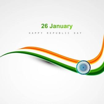 Diseño de la bandera india ondulado brillante
