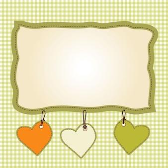 Diseño de la plantilla infantil con corazones