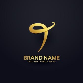 Diseño de logotipo de lujo de la letra t