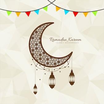 Diseño de luna con linternas para ramadán kareem