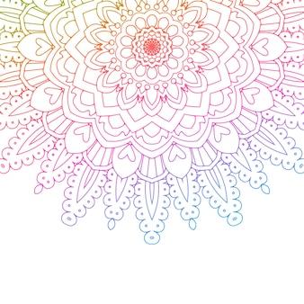 Diseño de mandala con colores de arco iris