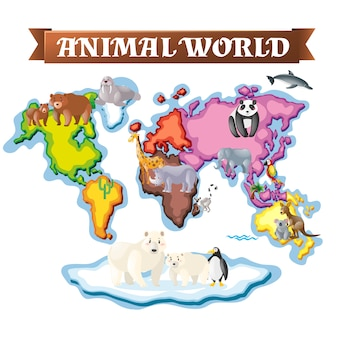 Diseño de mapa del mundo animal