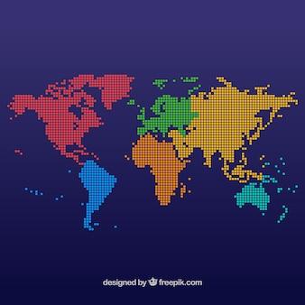 Diseño de mapamundi multicolor con puntos