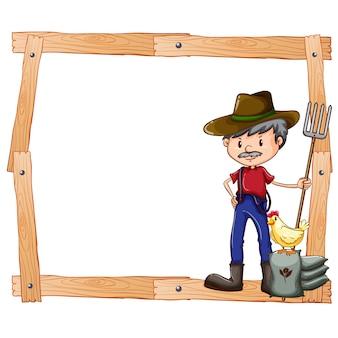 Diseño de marco con un granjero