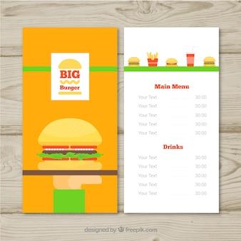 Diseño de menú de hamburguesas